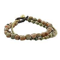 Unakite beaded bracelet, 'Love the Earth' - Multi-Strand Unakite and Brass Beaded Bracelet from Thailand
