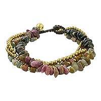 Agate and tourmaline beaded bracelet, 'Earthen Beads' - Agate and Tourmaline Beaded Bracelet from Thailand