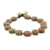 Unakite beaded bracelet, 'Floral Earth' - Floral Unakite and Brass Beaded Bracelet from Thailand