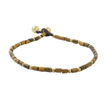 Tiger's eye beaded bracelet, 'Earthen Charm' - Tiger's Eye Rondelle Beaded Bracelet from Thailand
