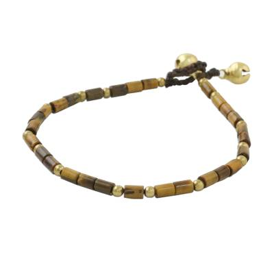 Tiger's eye beaded anklet, 'Earthen Charm' - Tiger's Eye and Brass Beaded Anklet from Thailand