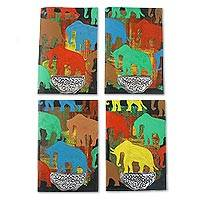 Paper and aluminum greeting cards, 'Elephant Paradise' (set of 4) - Paper and Aluminum Elephant Greeting Cards (Set of 4)