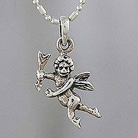 Sterling silver pendant necklace, 'Cupid' - Sterling Silver Cupid Pendant Necklace from Thailand