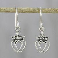 Sterling silver dangle earrings, 'Crowned Hearts' - Thai Sterling Silver Dangle Earrings with Crowns and Hearts