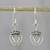 Sterling silver dangle earrings, 'Crowned Hearts' - Thai Sterling Silver Dangle Earrings with Crowns and Hearts thumbail