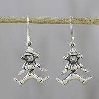 Sterling silver dangle earrings, 'Chiang Mai Clown' - Thai Sterling Silver Clown Figure Dangle Earrings