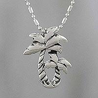 Sterling silver pendant necklace, 'Paradise Palms' - Thai Sterling Silver Twin Palm Design Pendant Necklace