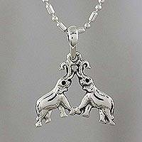 Sterling silver pendant necklace, 'Elephant Duo' - Sterling Silver Elephant Pendant Necklace from Thailand