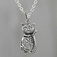 Sterling silver pendant necklace, 'Fortunate Feline' - Sterling Silver Cat Pendant Necklace from Thailand