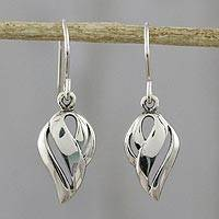 Sterling silver dangle earrings, 'Tropical Breeze' - Thai Dewdrop Shaped Sterling Silver Dangle Earrings