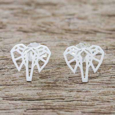 Sterling silver stud earrings, Elephant Illusion