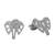 Sterling silver stud earrings, 'Elephant Illusion' - Elephant Stud Earrings Crafted from Brushed Sterling Silver (image 2c) thumbail