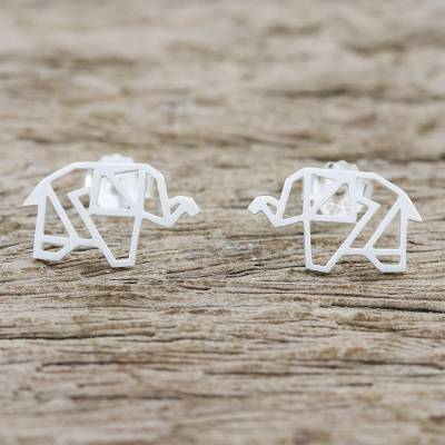 Sterling silver button earrings, Elephant Origami