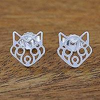 Sterling silver button earrings, 'Wide-Eyed Raccoon' - Raccoon Themed Sterling Silver Button Earrings