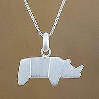 Sterling silver pendant necklace, 'Origami Rhino' - Rhino Motif Pendant Necklace in Sterling Silver