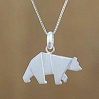 Sterling silver pendant necklace, 'Origami Bear' - Bear Pendant Necklace in Sterling Silver