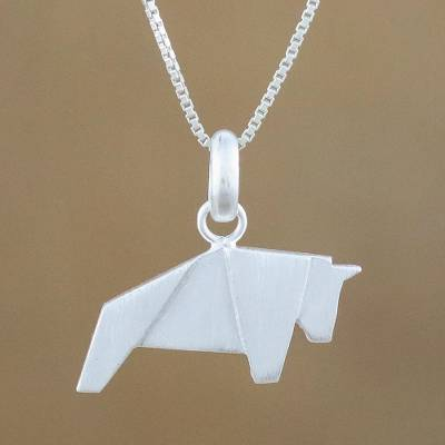 Sterling silver pendant necklace, 'Origami Bull' - Bull Necklace Hand Crafted in Brushed Sterling Silver