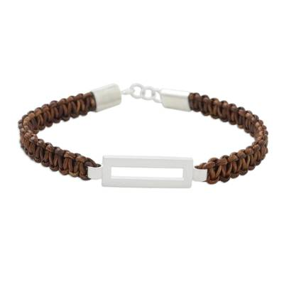 Unisex Bracelet Crafted from Brown Leather and Silver