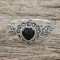 Onyx and marcasite cocktail ring, 'Age of Romance' - Heart Shaped Onyx and Marcasite Cocktail Ring