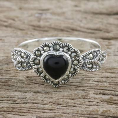 Heart Shaped Onyx and Marcasite Cocktail Ring