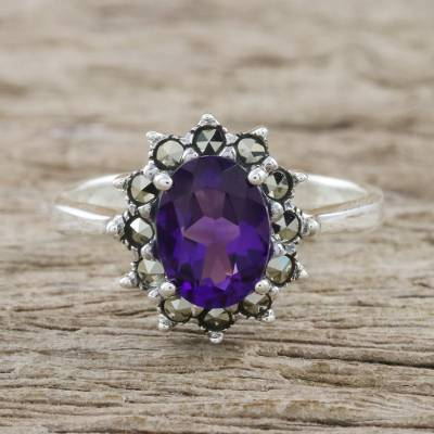 Amethyst and marcasite cocktail ring, 'Victorian Crown' - Artisan Crafted Silver Ring with Amethyst and Marcasite
