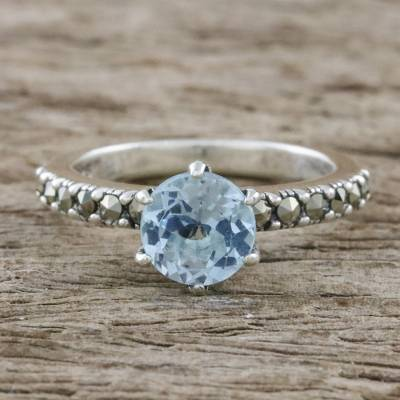 Solitaire Ring with Three-Carat Blue Topaz and Marcasite