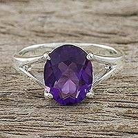 Amethyst single stone ring, 'Solitary Beauty' - Sterling Silver and Amethyst Modern Single Stone Ring