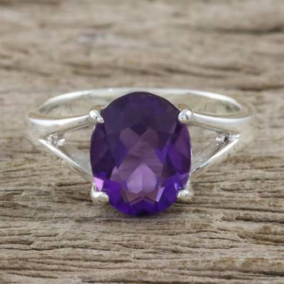 Sterling Silver and Amethyst Modern Single Stone Ring