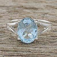 Blue topaz single stone ring, 'Solitary Beauty' - Blue Topaz and Sterling Silver Modern Single Stone Ring