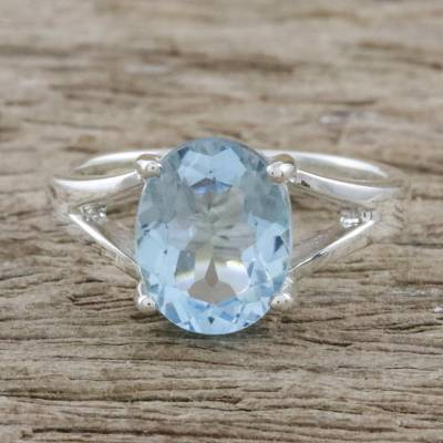 Blue topaz single stone ring, Solitary Beauty