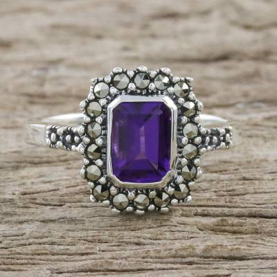 Thai Sterling Silver Amethyst Ring with a Marcasite Halo