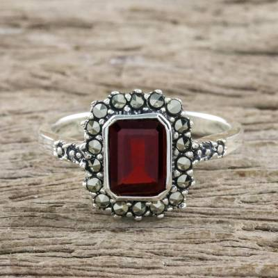 Garnet and marcasite cocktail ring, 'Joyous Solitude' - Garnet and Marcasite Sterling Silver Ring from Thailand