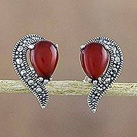 Onyx and marcasite button earrings,