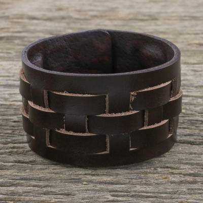 Leather wristband bracelet, 'Moto Chic in Brown' - Brown Leather Bracelet with Lattice Style Weaving