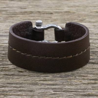 Leather wristband bracelet, 'Rugged Femme' - Rugged Women's Brown Leather Bracelet with Shackle Clasp