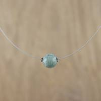 Jade pendant necklace, 'Trajectory' - Minimalist Jade Pendant Necklace on Stainless Steel