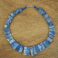 Lapis lazuli beaded necklace, 'Tidal Waters' - Lapis Lazuli Statement Necklace Handmade in Thailand