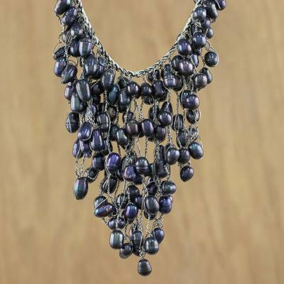 Cultured pearl pendant necklace, 'The Enchanting Dark' - Bold Black Cultured Pearl Pendant Necklace from Thailand