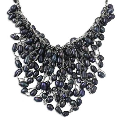 Bold Black Cultured Pearl Pendant Necklace from Thailand