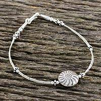 Silver beaded pendant bracelet, 'Hill Tribe Confection' (Thailand)