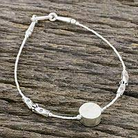 Silver beaded pendant bracelet, 'Hill Tribe Flair' - Thai 950 Silver Beaded Pendant Bracelet with Hook Clasp