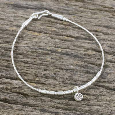 Silver and sterling silver charm bracelet, 'Charming Blossom' - Karen Silver and Sterling Silver Beaded Round Charm Bracelet