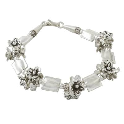 Thai Style 950 and 925 Silver Beaded Floral Bracelet