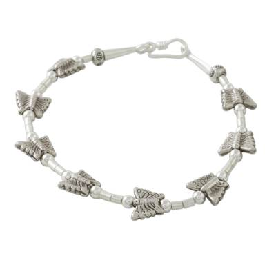 Butterfly Motif 950 and 925 Silver Bracelet with Hook Clasp
