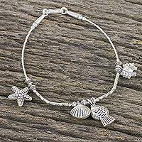 Silver beaded charm bracelet, 'She Sells Sea Shells' - Seashore Themed Charm Bracelet in 950 and 925 Silver