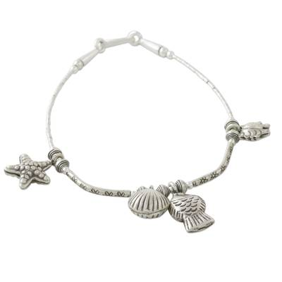 Seashore Themed Charm Bracelet in 950 and 925 Silver