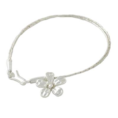 Double Strand 950 Silver Bead Bracelet with Flower Charm