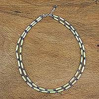 Agate and hematite beaded strand necklace, 'Fresh Life' - Lemon Yellow Agate and Hematite Double Strand Necklace