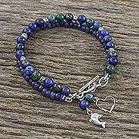 Multi-gemstone beaded charm bracelet, 'Dolphin Adventure' - Dolphin Themed Gemstone Bead Bracelet with 950 Silver