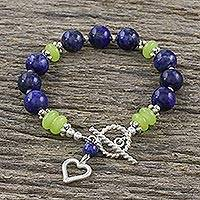 Lapis lazuli and agate beaded charm bracelet, 'Heart and Soul' - Heart Charm Bracelet with Lapis Lazuli and Agate